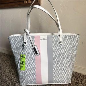 Sam Edelman white & pink Signature shoulder bag
